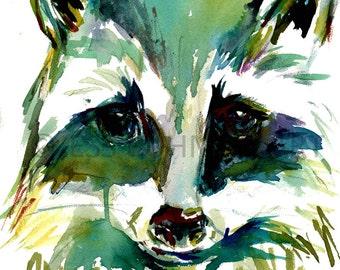 Raccoon Watercolor Print, Print of Raccoon, Animal Watercolor, Raccoon Watercolor, Raccoon Painting, Colorful Raccoon Art, Abstract Raccoon