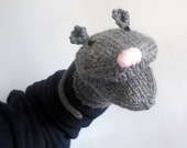 Mouse Rat Hand Puppet Hand Knit Gray for Adult or Child