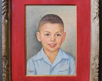 Kamesuke Hiraga Japanese American Los Angeles California Portrait of Child Original Vintage Realist Impressionist Fine Art Oil Painting