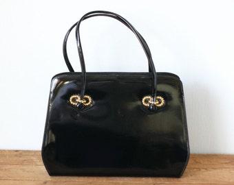 Black Patent Leather LEWIS Handbag/ Vintage Lewis Patent Leather Purse 1950s 1960s with Mirror