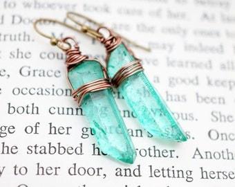 Crystal Quartz Wirewrapped Vintage Brass Earrings Dyed Seafoam Green, Modern Everyday Jewelry Simple Boho Gypsy Gift For Her, Earrings