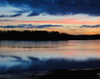 Sunset over Ocean - Maine Photography - Eastport, Maine - Cloud Reflection