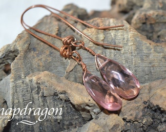 Lavender faceted glass briolette earings on handmade copper wires