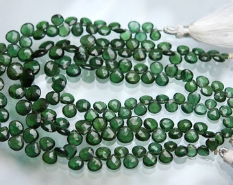 66 Carats,8.5 Inch Strand,Super Finest Quality,AAA GREEN Apatite Faceted Heart Briolettes,Size 6-9mm Manufacturers Price Item