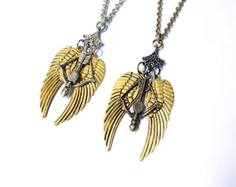 Winged Crossbow necklace, wings and crossbow charms