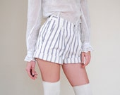 Striped Shorts || Ecru and Indigo Striped Pleated Cotton Shorts || 1920s Style || size 6