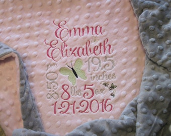 BABY GIRL Personalized Birth Stats Minky Blanket
