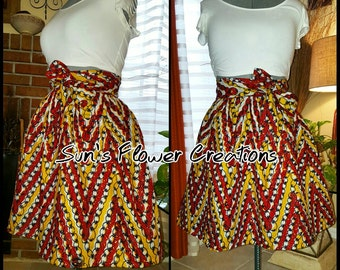 High Waisted Short African Print Wrap Skirt LARGE SIZES