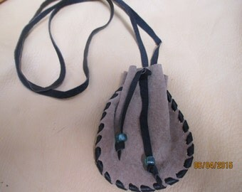 Light Brown & Black Leather Neck Pouch Medicine Bag Glass Beads