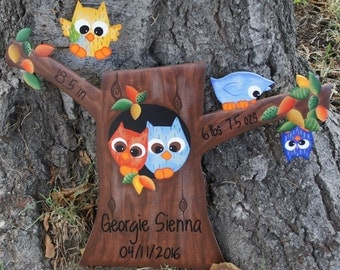 Owls and Tree Wood, Wall Hanging Birth Announcement - Baby Room Decoration
