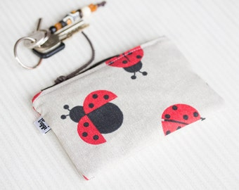 Coin Purse - Woman Wallet Small, Womens Ladybug Purse, Cute Zipper Pouch, Gift for Her & Girls