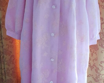 1950s 1960s Vintage Dressing Gown Housecoat nylon flocked lilac sissy