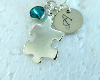 Sterling silver puzzle piece necklace, jigsaw puzzle pendant, Autism awareness, Hand stamped initial