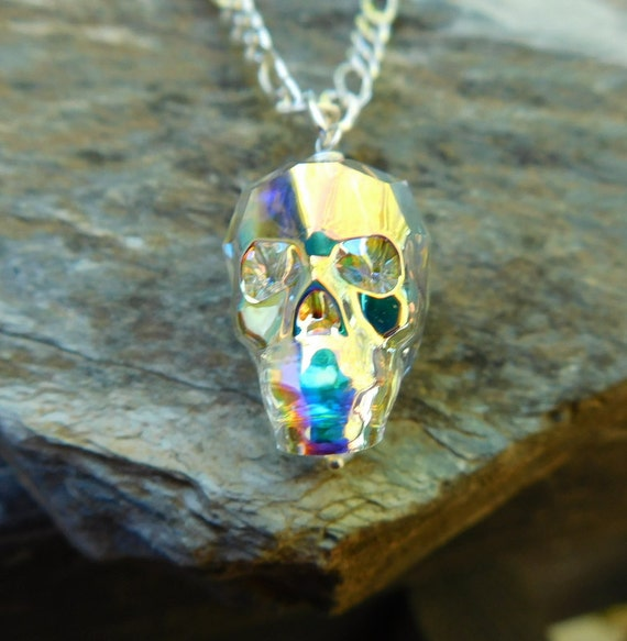 Swarovski crystal Skull necklace, wedding jewelry, sterling silver jewelry, gothic necklace, skull head, day of the dead