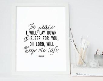 Bible Verse Art  -  Psalm 4:8 - Scripture Print - Nursery Decor - Children's Room