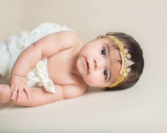 Gold Baby Tiara Headband.Baby Headband.Baby Princess Tiara Headband.Crown Headband.Baby Headbands.Newborn Headband.Baby Girl Headband.Tiara