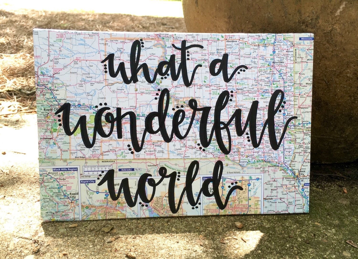What a wonderful world map wood sign for Wonderful world