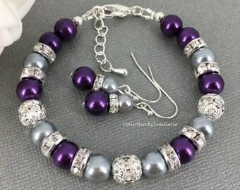Dark Purple and Grey Bracelet, Purple Pearl Bracelet, Bridesmaids Gift, Purple Bracelet, Bridesmaids Bracelet