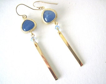 Blue  earrings    Blue and gold earrings     Gold and Blue earrings