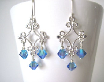 Silver earrings with swarovski crystal blue and silver