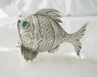 Antique Besamim Havdalah Silver Fish, JUDAICA, Spain Silver, Antique Silver Collectible