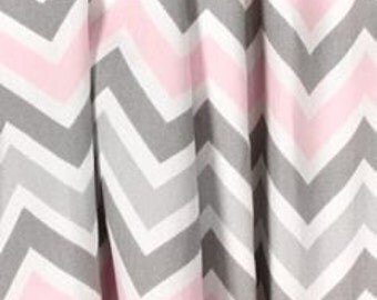 One pair of pink and gray chevron curtains