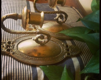 Antique Vintage Brass Candle Sconces Pair Wall Decor