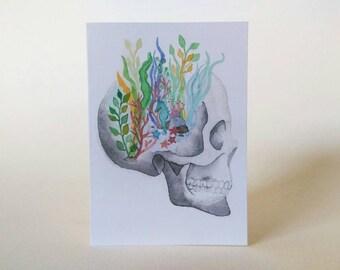 Skull Aquarium Art Card