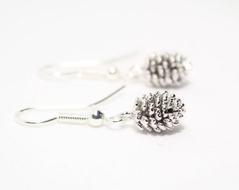 Silver Pine Cone Earrings, Silver Earrings, Woodland Jewellery, Autumn Earrings, Gift for Her, Birthday Gift, Sister Gift, Cute Earrings