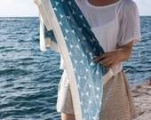 CRAZY SALE Mykonos Blue Screen Printed Cotton Gauze Scarf