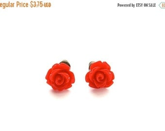 SALE 20% OFF Tiny So Red Rose Earrings, Under 5 Dollars, Valentine's Red, Gift for Her