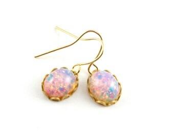Harlequin Opal Dangle Earrings, Tiny Fire Opal Earrings, Faux Opal Drop Earrings