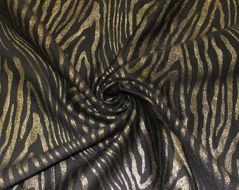 Black Ponte Roma Zebra Pattern Gold Foil Embroidered Fabric by the Yard Style 8071