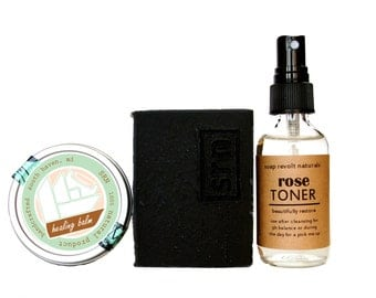 Beautiful Face SkinCare Set, Charcoal soap, toner, and healing balm. Acne-prone skin, All Natural Face. charcoal soap Wash