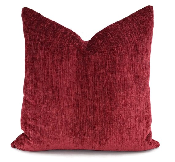 Throw PIllow Cover Red Chenille Pillow Cover Red Chenille
