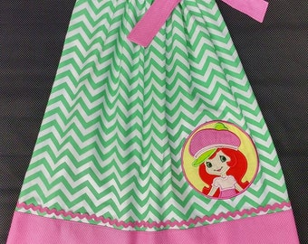 Girls Strawberry Shortcake Pillow Case Dress and matching doll dress option-