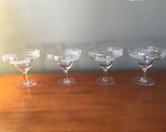 Set of 4 Mid century margarita glasses