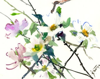 floral painting DogWood, Original watercolor dogwood flowers, white flowers abstract floral art