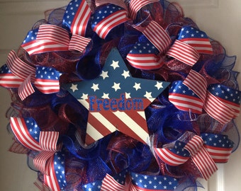 SALE..WAS 69.00/NOW 59..00..Patriotic..Star..Freedom Deco Mesh Wreath..Stars and Stripes