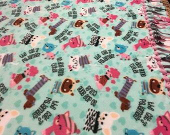 Adorable Kitty and Doggie Blanket..Fleece..Hand tied..No sew..Double layer..Reversible..Fringe Blanket..Throw..Cat..Dog..Gift