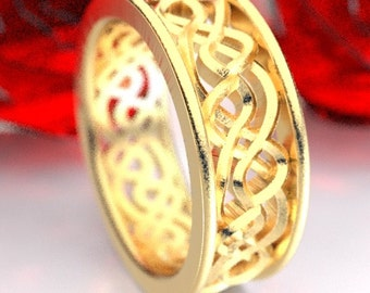 Gold Wedding Ring, Celtic Knot Ring, Mens Celtic Wedding Band, Unique Wedding Ring, 10K 14K 18K Gold Palladium or Platinum CR-72