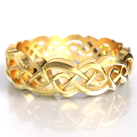 Gold Celtic Wedding Ring With Cut-Through Overlapping Infinity Symbol Pattern in 10K 14K 18K or Palladium, Made in Your Size Cr-1044