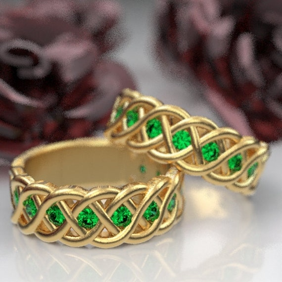 Celtic Wedding Ring Set with Emerald Stones in 4 Cord Braided Knot Design in 10K 14K 18K or Palladium, Made in Your Size CR-1008