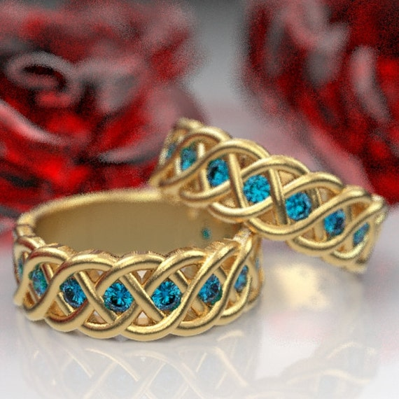 Celtic Wedding Ring Set with Blue Sapphire Stones in 4 Cord Braided Knot Design in 10K 14K 18K or Palladium, Made in Your Size CR-1008