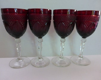 Ruby Red, Duran Cristal, D'argues Luminary Wine / Water Goblets / Vampire Goblets - Set Of Four