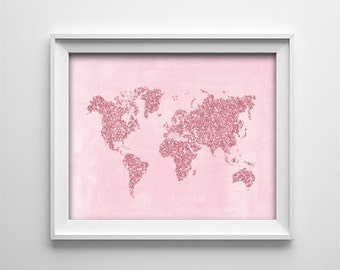 "INSTANT DOWNLOAD 8X10"" Printable digital art file -Pink World map glitter effect- nursery wall art - baby - playroom decor - SKU:396"