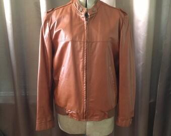 Vintage 70s Cognac Tan Brown Leather Bomber Cafe Racer London Fog Removable Lining Pocket Dress Jacket Coat