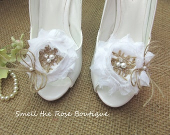 Rustic Shabby Chic Burlap Wedding Shoe Clips,Bride-Bridesmaid-Flower Girl Shoe Clips,Woodland Wedding Accessories