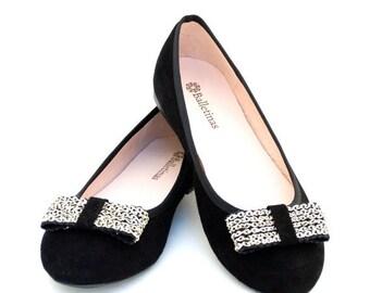 WINTER DISCOUNT Ballet Flats Hera Ballerina Pumps Leather Ballet Shoes en Black Leather Color