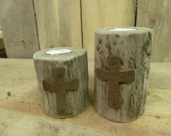 Tea Light set, 2 piece set rustic